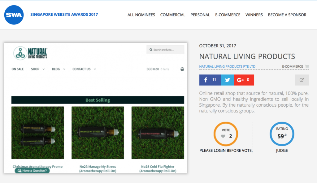 We Got Nominated For The Singapore Website Awards 2017